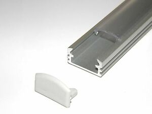 Aluminium Profile for LED Strips, P2, Anodized Silver CLEAR Cover End Caps 2m