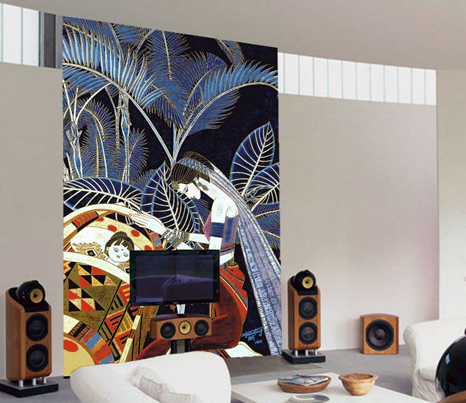 3D Girl Leaves 89 Wallpaper Mural Paper Wall Print Wallpaper Murals UK Lemon