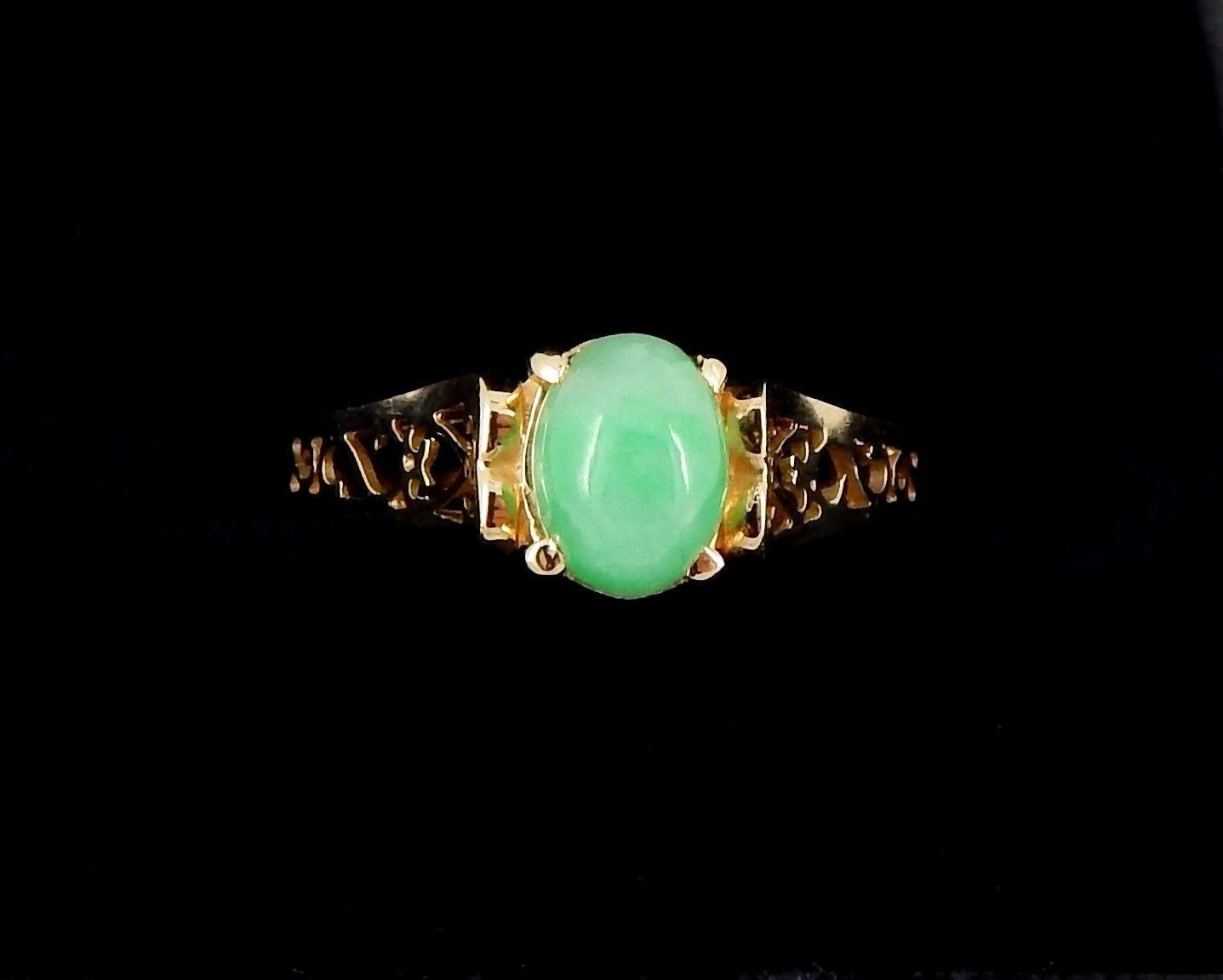 14K Filigree Grade A Jade Ring Size 8
