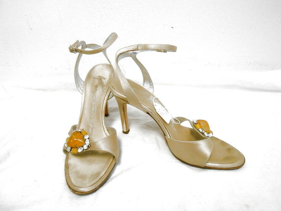 GIUSEPPE ZANOTTI cream satin strappy sandals schuhe w gemstones 36.5 6.5 SEXY