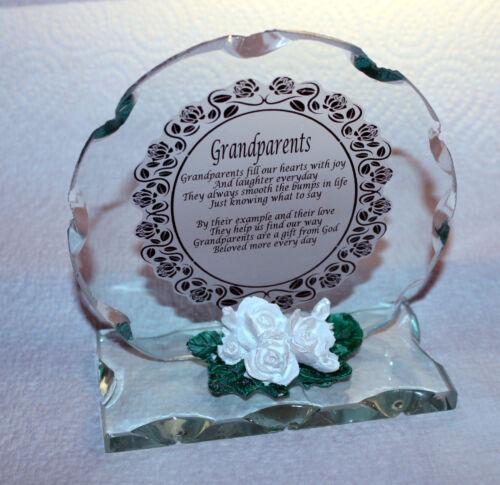Grandparents Round Cut Glass Plaque Unique Gift Limited Edition #8