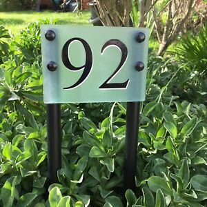 house door number Personalised Free standing Garden Lawn Path Border Sign.