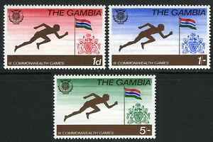 Gambie 244-246, MNH 9th Commonwealth Jeux. Chemin, Drapeau & Bras, 1970