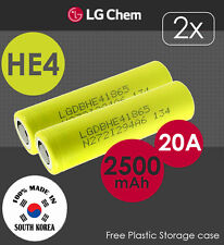 2x LG HE4 3.7V 2500mAh 20A Lithium Li-Ion 18650 Rechargeable Battery Flat  Top