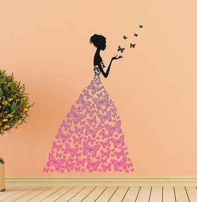57000101 | Wall Stickers Lady With Black Butterflies Dress