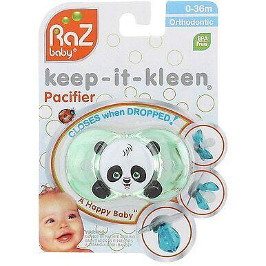 2 Pack RaZ Baby Keep-It-Kleen Orthodontic Pacifier Panky Panda 0-36m