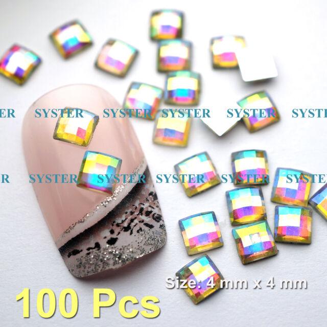 100 Pcs 4mm  Nail Art Decoration Iridescent Square Glass Rhinestones #SG-162J