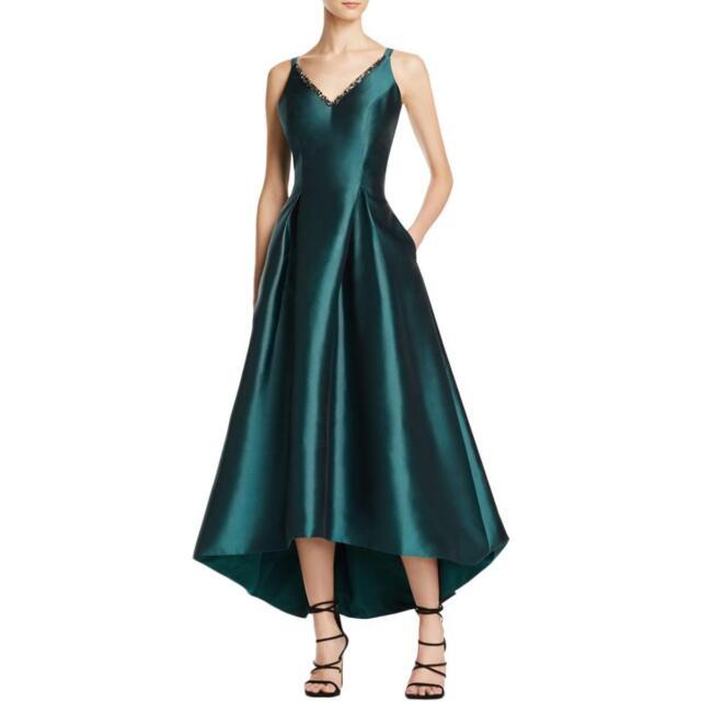 Carmen Marc Valvo Green Embellished Fit & Flare Hi-low Formal Gown 2 ...