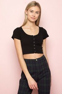 61c225b8eec brandy melville black crop ribbed button up cotton zelly top NWT sz ...