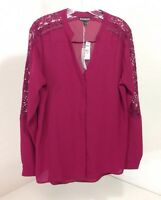 Express Women's Blouse W/lace Embroidery Upper Sleeves Medium $60