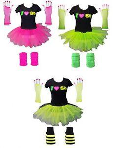 Détails sur Femmes Tutu T,Shirt Gants Jambière 80 S robe fantaisie Set  Costume Fluo Festival, afficher le titre d\u0027origine