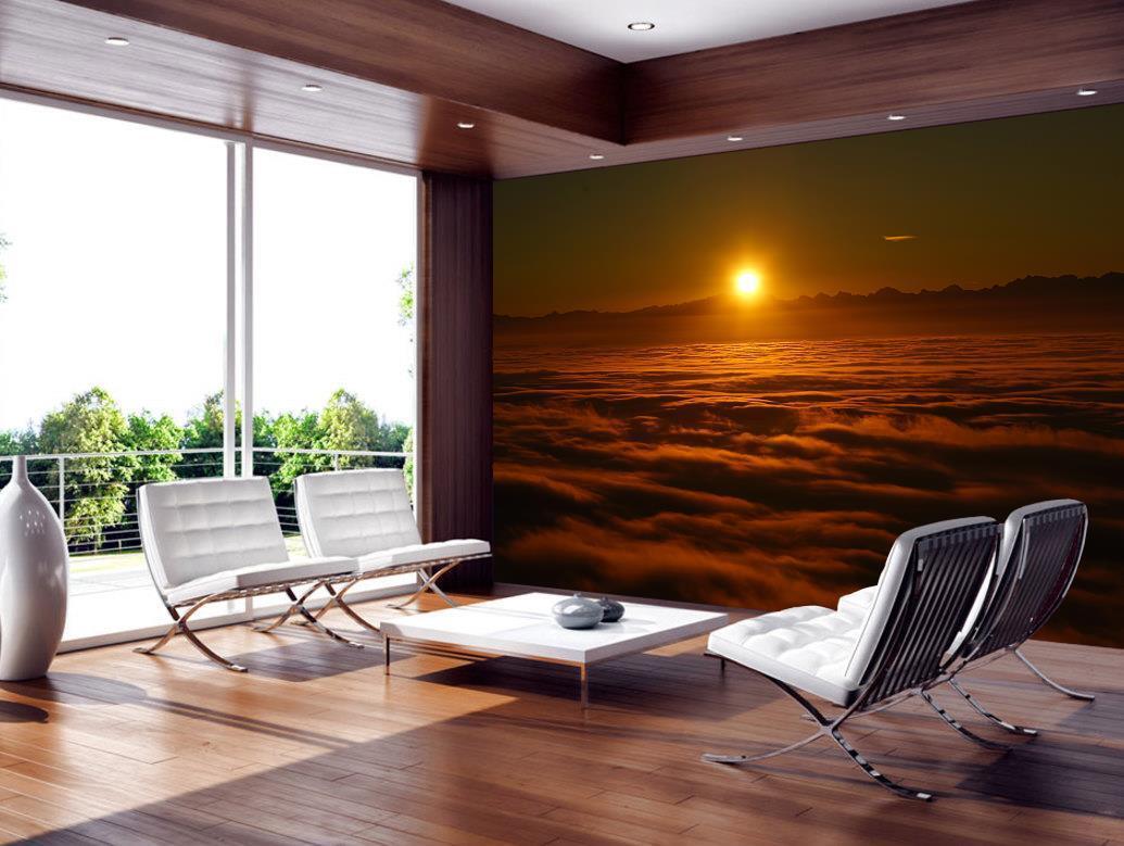 Foggy Morning Sunrise Wallpaper Woven Self-Adhesive Wall Mural Art Decal M172