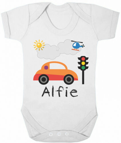 Personalised BABY GROW Boys Name CAR Motor Funny Bodysuit Baby Shower Gift