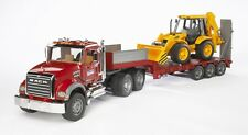 Bruder MACK Granite Low Loader Kids Play Toy Truck w JCB Backhoe 02813 BRAND NEW