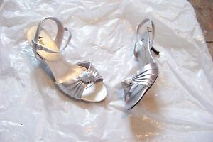 Womens Fioni Night Silver Layered Ankle Strap Heels Shoes