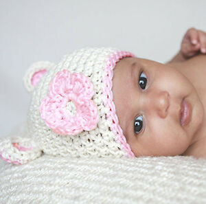 Melondipity Girls White Crochet Baby Beanie Hat Knit Pink Flower Ear