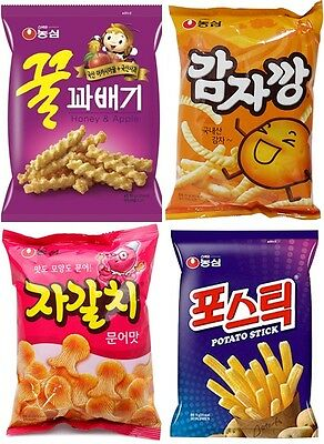 """NongShim """"Delicious Story"""" Korean Snack NORMAL Size 4Packs Collection"""