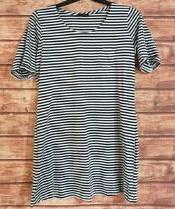 Ladies-Tunic-Top-Navy-BLUE-WHITE-Breton-Striped-Long-T-Shirt-F-amp-F-Cotton-UK-16-18