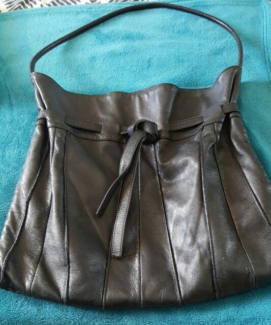 DAVID LAWRENCE Black Leather Shoulder Bag Handbag Large Soft Boho B30
