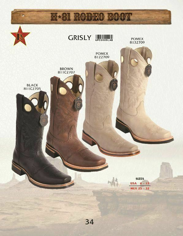Los Altos Men's Genuine Grizly Rodeo Cowboy Western stivali