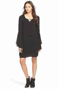 59eca6ef46c0 Love Fire Lacy Bell Sleeve Gypsy Black Tunic Dress Small Boho Hippy ...