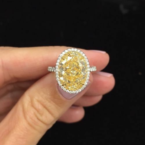 Gorgeous 3.0Ct Oval Cut Yellow Diamond Halo Engagement Ring In 14K White Gold