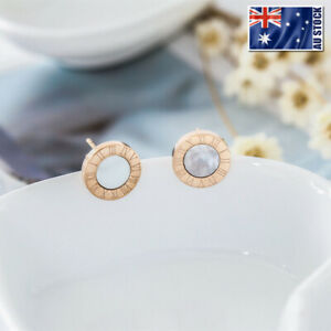 NEW-18K-Rose-Gold-GF-White-Mother-of-Pearl-10MM-Roman-Numerals-Stud-Earrings