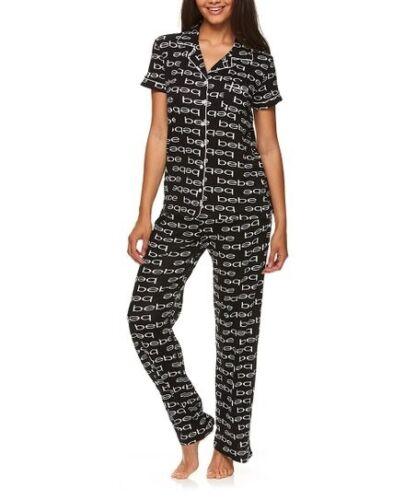 Bebe Black Button-Up Logo Pajama Set Women