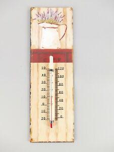 9977714-x Vintage Wand-Thermometer Blechschild Antikstil Lavendel 25x8cm