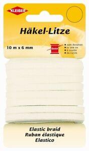 KLEIBER-Haekel-Litze-710-86-feines-Gummiband-Gummilitze-Gummi-6mm-Breit