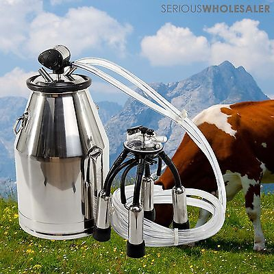 Portable Cow Milking Equipment Cow Milker Stainless Steel Milk Bucket L80 US