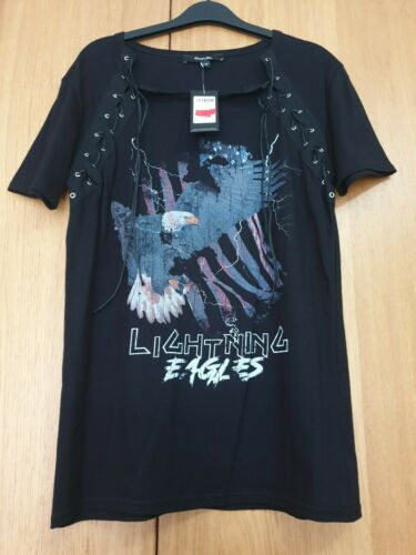Simply Be Lightning Eagles Tie Front T Shirt  Size 12 Black Cut Labels