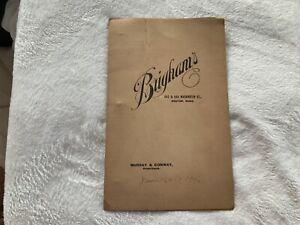 1906 Brighams Hotel Restaurant Menu 642 & 644 Washington Street Boston Ma