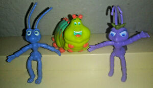 Vtg-bendy-lot-Disney-Pixar-A-Bugs-Life-figures-bendable-Flik-Atta-large-Heimlich