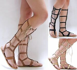 New Women WCL36 Black Brown Gold Lace Gladiator Knee High Tall Sandals