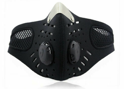 Filter Breathing Valves Reusable Washable~ Cycling Face Mask With Active Carbon