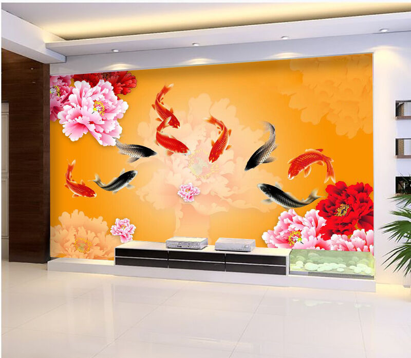 3D Bright Flowers Fishes 462 Paper Wall Print Wall Decal Wall Deco Indoor Murals