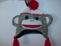 Maxx The Sock Monkey Toddler Hat Size 2 To 4 Soft Fleece Lining - Brand