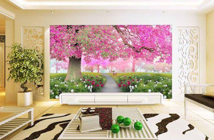 3D Rote Bäume, Rasen 786 Fototapeten Wandbild Fototapete BildTapete Famili