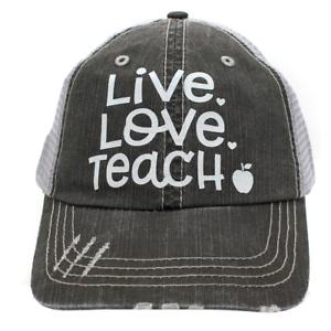 3a702489ff65b LIVE LOVE TEACH Apple in Glitter Print Women s Trucker Hat- Gray ...
