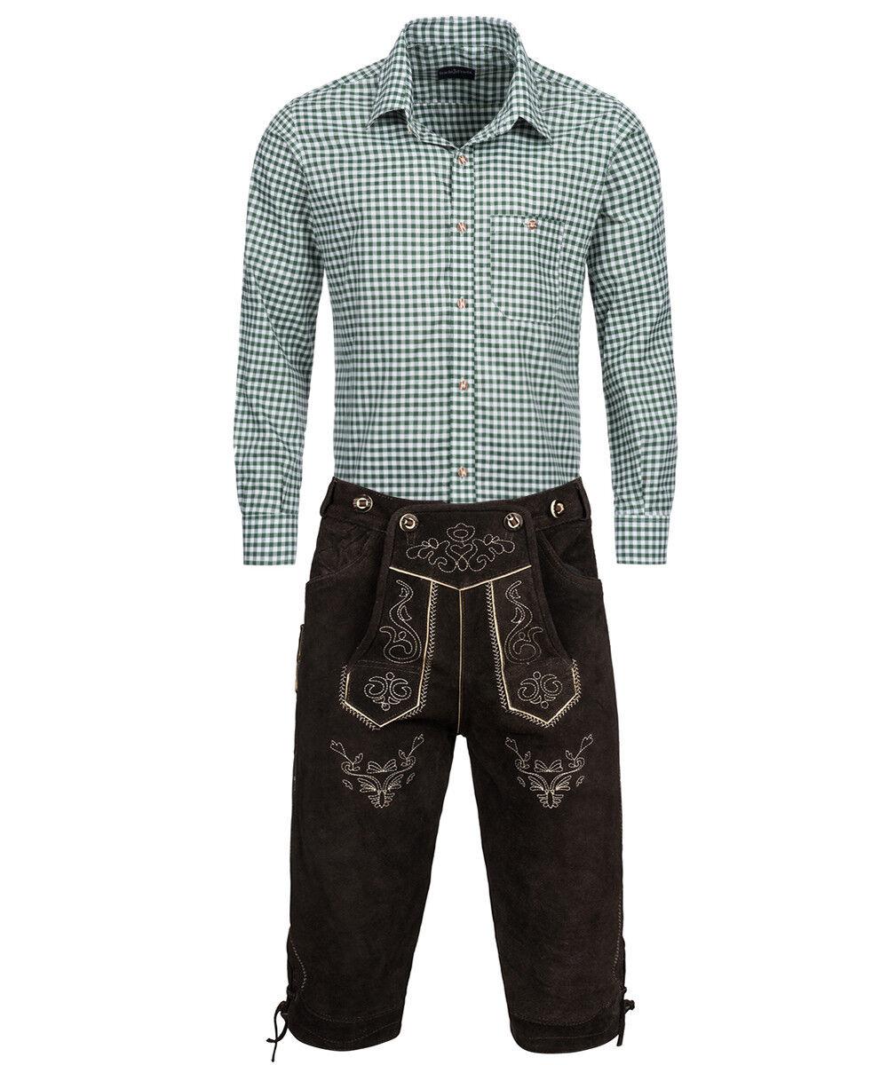 Trachten SET Herren - Lederhose Kniebund Dunkelbraun + Hemd Grün   Viele Sorten    Verkauf    Wir haben von unseren Kunden Lob erhalten.    Deutschland Online Shop    Stilvoll und lustig