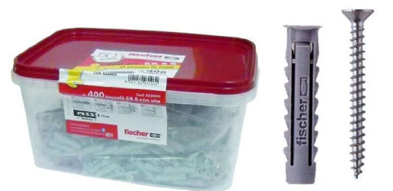 Box tasselli con vite FISCHER 250 SX6+100 SX5 punte SDS 5-6 omaggio
