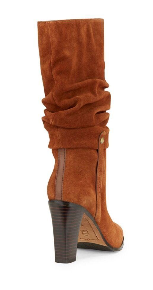 Donald J Toe Pliner Odessa Chestnut Round Toe J Suede  Mid Calf Boot 8M e0f8f8