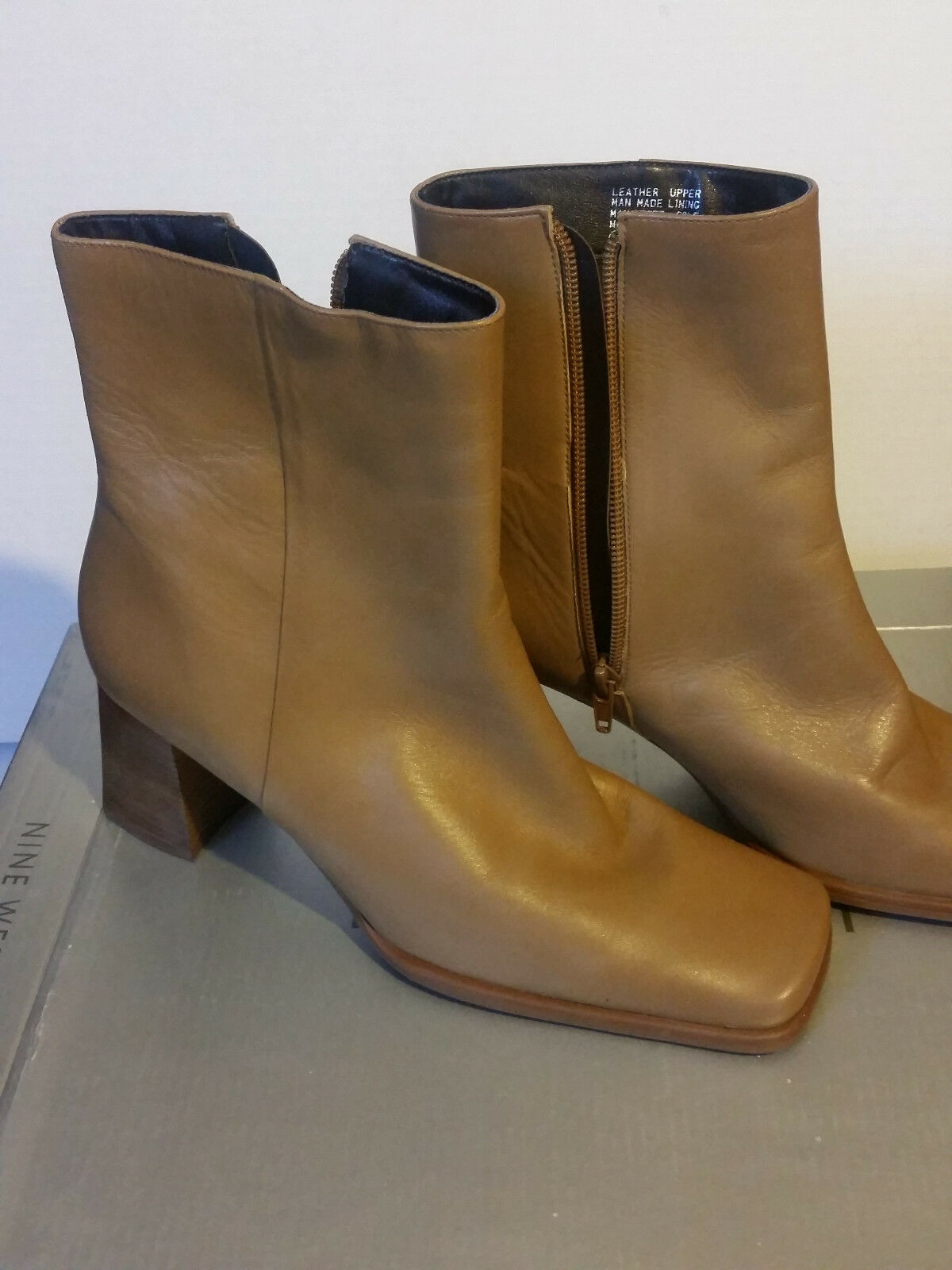 NINE WEST Women's Platform Ankle Boot Leather Tan Size 8M
