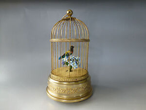 watch Videos Handsome Appearance Nice Antique French Bontems Singing Bird Cage Bird Automaton Music Box