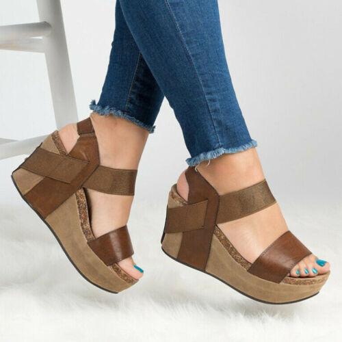Women/'s Chunky Heel Leopard Print Sandals Open Toe Wedge Sandals Summer Shoes