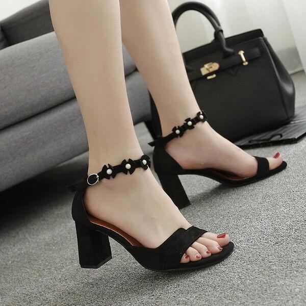 Sabot ciabatte 6 cm eleganti  negro  tacco quadrato sandali pelle sintetica 9963