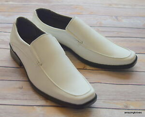 NICE-ITALIAN-STYLE-MENS-DRESS-CASUAL-SHOES-COLOR-WHITE-FINISH-EXCELLENT-QUALITY
