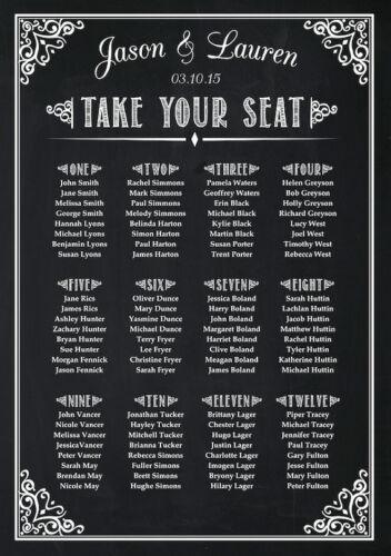 Wedding Seating Plan Chart Chalkboard Poster Print Sign