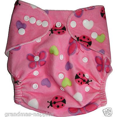 Reusable Modern Cloth Nappies Diaper Modern MCN Reusable - Minky Pink lady bug